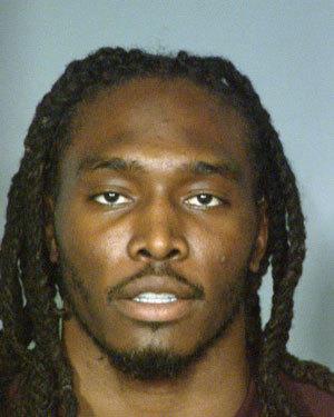 Denver Broncos safety Quinton Carter's mugshot taken after his arrest.