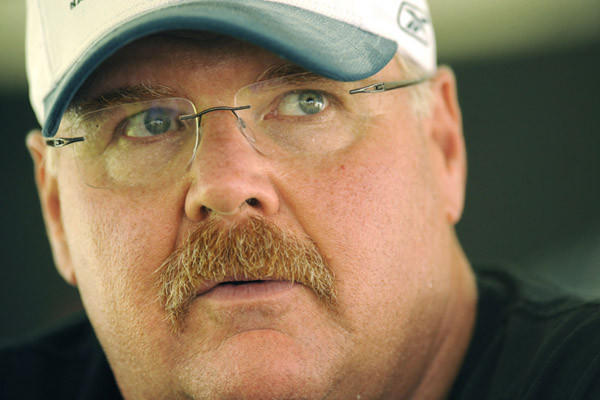 Head coach Andy Reid talks in the media tent at Eagles training camp Saturday.