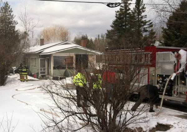 Fire crews on the scene of a house fire, today, Friday in Conway.