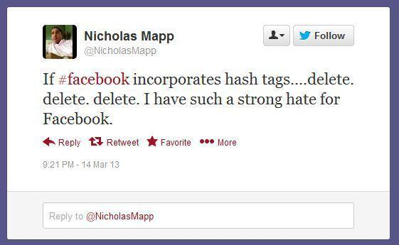 Many users are upset about the prospect of Facebook adding hashtags.
