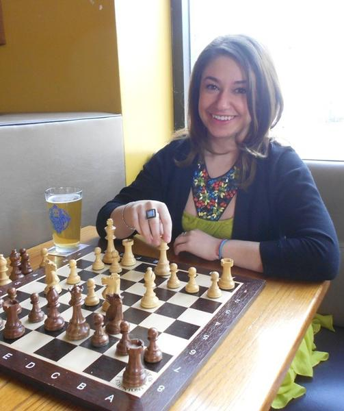 Polina Korenman, 22, of Rogers Park, at a Sheffield's chess night.