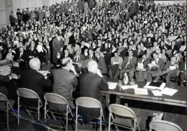 An overflow crowd attended the public hearing at King Philip School Auditorium in West Hartford in 1957.