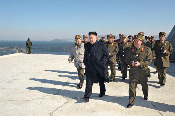 North Korean leader Kim Jong Un inspects a live ammunition firing drill in the southwestern sector of North Korea.