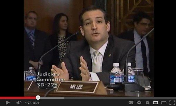 Sen. Ted Cruz (R-Texas) poses a question at the Senate Judiciary Committee's markup of S 150, a proposed ban on semiautomatic assault weapons.