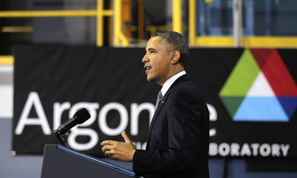 President Barack Obama gives a speech about energy policies at Argonne National Laboratory.