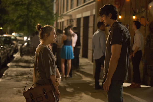 "Lena Dunham as Hannah (left) and Adam Driver as Adam in ""Girls."""