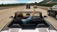 Zach Galifianakis driving on 73 Freeway