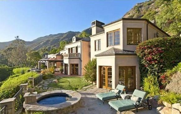 The Malibu villa has mountain, canyon and ocean views.