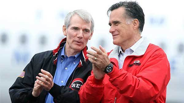 U.S. Sen. Rob Portman (R-OH) announced on March 14, 2013 that he has reversed his stance against same-sex marriage because his son, Will Portman, is gay. Here is Rob Portman campaigning with then Republican presidential candidate Mitt Romney (R) during a campaign rally September 25, 2012 at Dayton International Airport in Vandalia, Ohio.