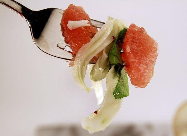 Pink grapefruit and fennel salad with crab.