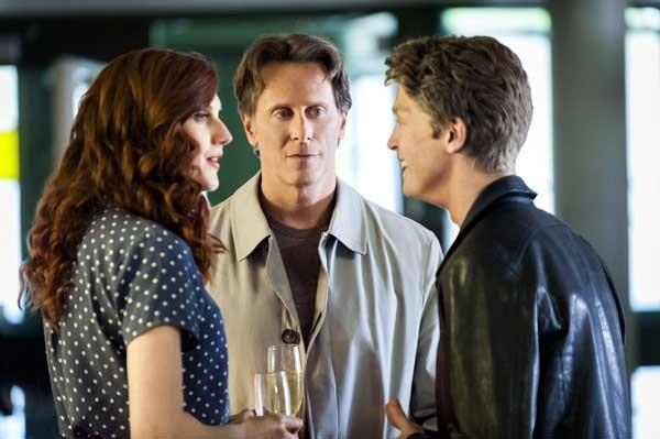 "Michelle Harrison, from left, Steven Weber and Andrew Francis in the Hallmark Channel movie ""Tom, Dick & Harriet."""