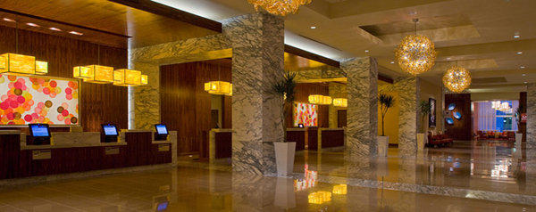 The lobby of the Grand Hyatt San Antonio, which was to host the National Defense Transportation Assn. Forum & Expo.