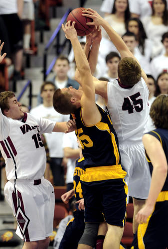 Valley Regional's Chris Polo (45) blocks a shot by Weston's Pascal Arvoy in the first half.