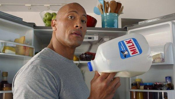 "Dwayne ""The Rock"" Johnson in an ad for milk. Researchers say the advice for toddlers to drink skim or 1% milk may not be doing what's intended: curbing weight gain."