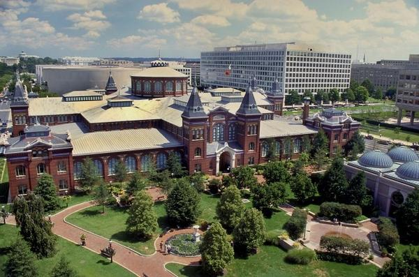 The Smithsonian Institution's Arts and Industries Building in Washington. Congressional backers of a national Latino museum have submitted a bill to secure it as the museum's site.