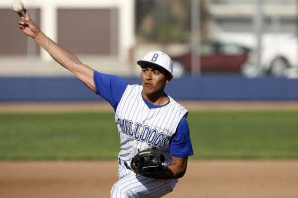 Burbank High's Angel Villagran logged a perfect game against Hoover High in a 10-0 win.