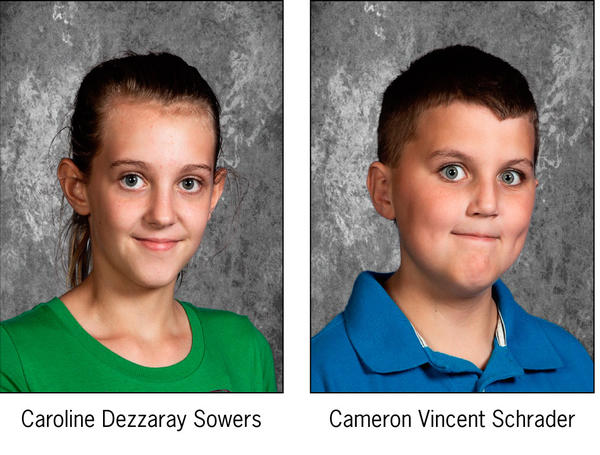 Two 12-year-old children - Caroline Dezzaray Sowers and Cameron Vincent Schrader - were reported missing about 6 p.m.