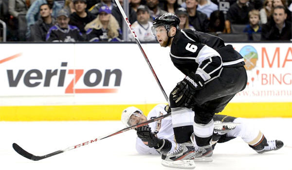 """Kings Coach Darryl Sutter calls the extra two-minute minor penalty Jake Muzzin received for instigating with a visor an """"old-fashioned, archaic, antique rule."""""""