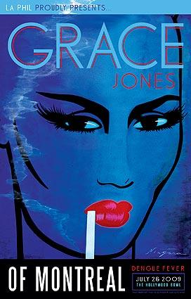 The punk painter Niagara put her talents to work on a moody poster for a night at the Bowl featuring Grace Jones, Of Montreal and Dengue Fever.