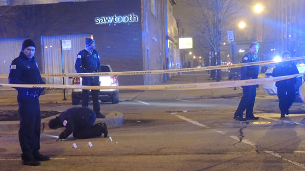 Someone was shot outside of Sawtooth Restaurant in the West Town neighborhood early Saturday morning.