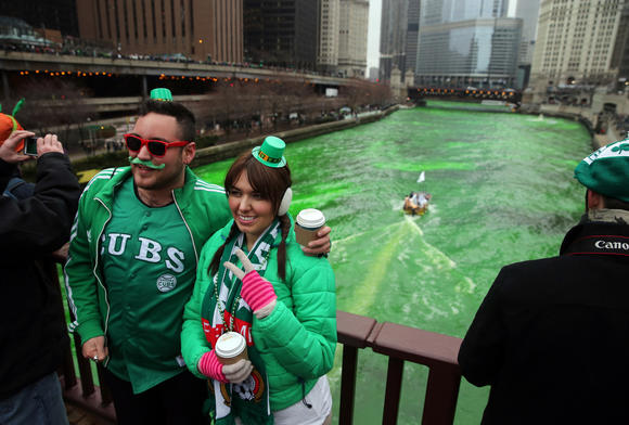The Chicago River on St. Patrick's Day