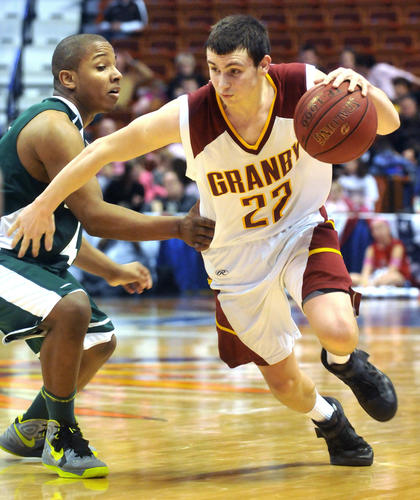 Granby's Brett Buser led the Bears with 23 point during the Class S boys state basketball championship at Mohegan Sun Arena Saturday.
