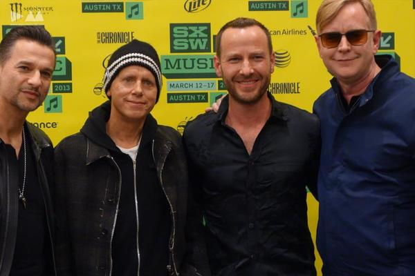 Depeche Mode with KCRW-FM's Jason Bentley, second from right, at the South by Southwest music festival in Austin, Texas.