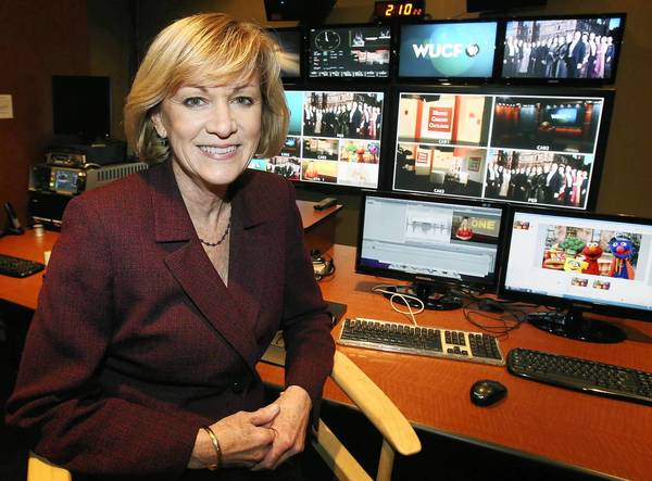 Polly Anderson, the new executive director at WUCF TV, is pictured in the studio on Research Parkway near the UCF campus on Wednesday, March 13, 2013.