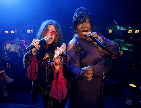 "Mary Bridget Davies as ""Janis Joplin,"" and Sabrina Elayne Carten as ""Blues Singer,"" star in ""One Night with Janis Joplin"" at the Pasadena Playhouse. The show opens runs through April 11."