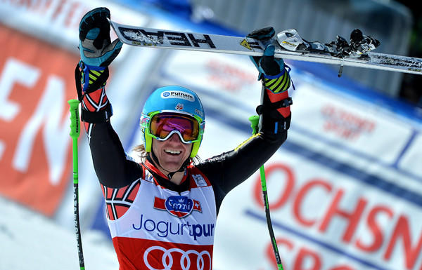 Ted Ligety celebrates his victory in the giant slalom Saturday.