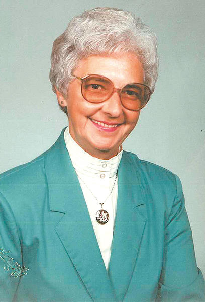 Elsie Rhodes poses for this picture taken in 1989.