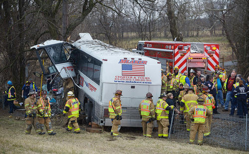 Emergency and rescue crews respond to the scene of a fatal tour bus crash on the Pennsylvania Turnpike on Saturday morning at mile marker 227.