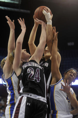 Farmington and Bacon Academy in the Class L girls state basketball championship at Mohegan Sun Arena Saturday.