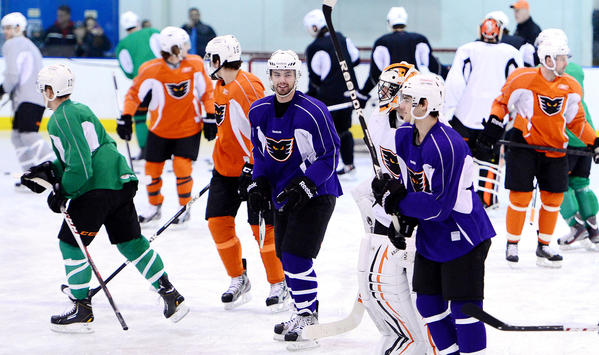 The Phantoms practice Saturday. The minor league Philadelphia Flyers affiliate, the Phantoms ice hockey team which will be playing in Allentown in the future, stops by the Steel Ice Center in Bethlehem to practice and greet fans on the way to Hershey for a game.