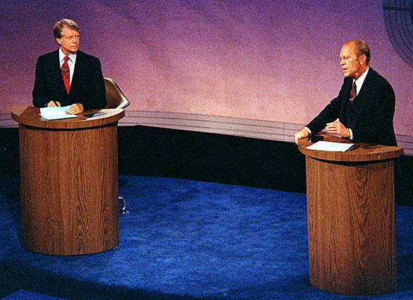 """<b>1976:</b> After 1960, no debates were held in the next three presidential elections. But they returned in 1976, when  Democrat  Jimmy Carter faced off with Republican President Gerald Ford. The first event (pictured here, and the first to be televised in color) was held in Philadelphia.<br> <br> <b>What you might remember:</b>  In the second debate, Ford stated: """"There is no Soviet domination of Eastern Europe, and there never will be under a Ford administration.... I don't believe that the Romanians consider themselves dominated by the Soviet Union. I don't believe that the Poles consider themselves dominated by the Soviet Union."""" That statement surprised many Americans – not to mention Romanians and Poles – and helped erode the perceived advantage in foreign policy that Ford held over Carter, a former governor of Georgia.<br> <br> <b>What you might have forgotten:</b> A technical glitch at the first debate in Philadelphia caused the sound to go dead. Carter and Ford remained onstage for nearly half an hour while the problem was fixed."""