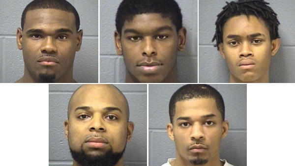 Five people, including three on parole, have been charged with home invasion and armed robbery after they showed up at a house party overnight and robbed people at gunpoint in unincorporated Will County, police said. Top row, from left: Deathray Anderson, Mitchell M. Thompson, Elijah Watson..Bottom row, from left: Darius Strong, Rodney G. Parks.