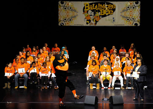 "The Baltimore Orioles mascot spells ""Orioles"" at the start of the Baltimore Spelling Bee Saturday, March 16 at Towson University."