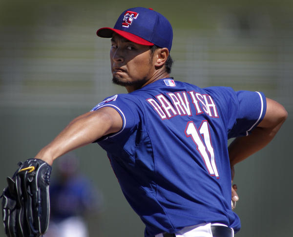 Rangers pitcher Yu Darvish makes his 2013 spring training debut against the White Sox.