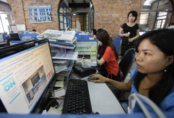 Thew newsroom of the Myanmar Times in Yangon. A media clampdown may be imminent.