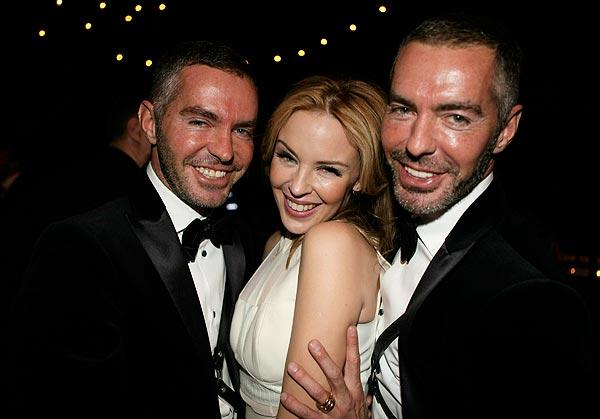 Kylie Minogue is bookended by designers Dan, left, and Dean Caten at the amfAR Inspiration Gala at the Chateau Marmont. The event benefited the American Foundation for AIDS Research.