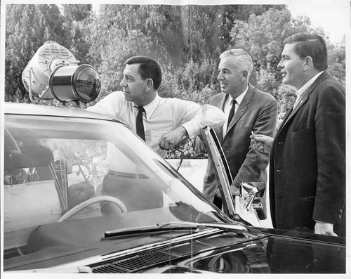"From left, Jack Webb as Sgt. Friday, Sgt. Dan Cooke of the Los Angeles Police Department and Bob Cinader, associate producer of  ""Dragnet.""  The series' stories were based on real cases from LAPD files."