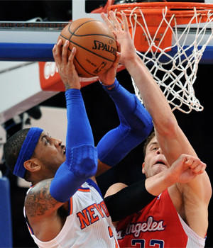 Blake Griffin, right, defends against New York's Carmelo Anthony during the Clippers' 102-88 victory over the Knicks in February.