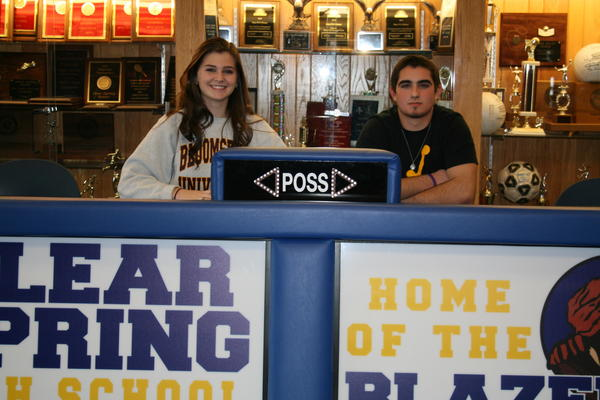 Clear Spring High Schools Victoria Albert, left, and Ryan Aaron signed national letters of intent on Feb. 6. Albert signed to play soccer at Division II Bloomsburg (Pa.) University. She has been accepted into the nursing and honors programs. Aaron has signed to play football at Division II Alderson-Broaddus College in Philippi, W.Va. to play football. He plans to major in education.