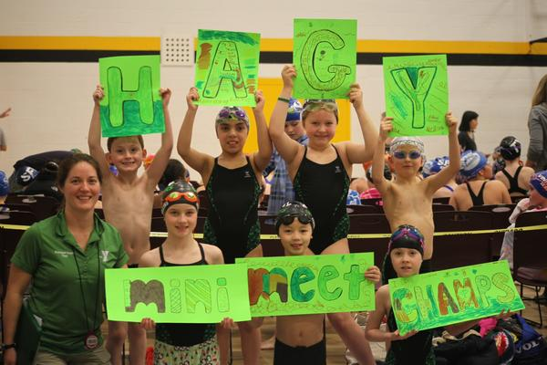 The Hagerstown YMCA Gators swim team competed in the YMCA 8U championship meet at Towson University on March 3.
