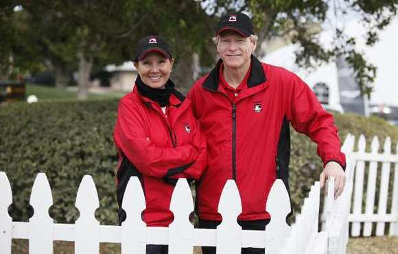 Debbie Fleming and Brian Landley are volunteers during the Toshiba Classic.