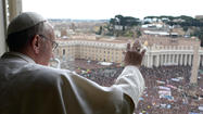 VATICAN CITY -- Tens of thousands of pilgrims Sunday greeted Pope Francis on his first scheduled appearance before the general public, shouting their acclaim in St. Peter's Square as the pope gave the first Angelus blessing of his pontificate.