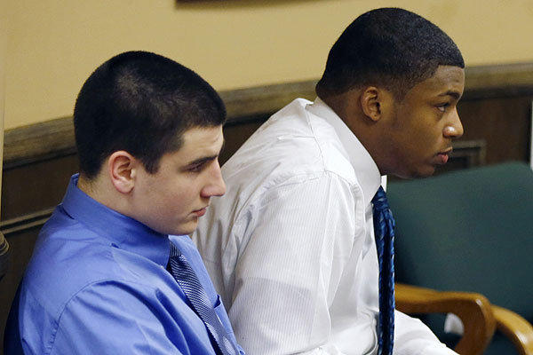Trent Mays, 17, left, and co-defendant 16-year-old Ma'lik Richmond during their trial on rape charges