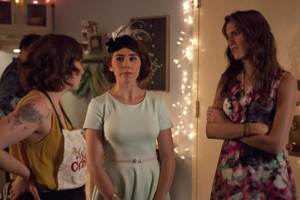 "Lena Dunham, left, Zosia Mamet and Allison Williams in a scene from ""Girls."""
