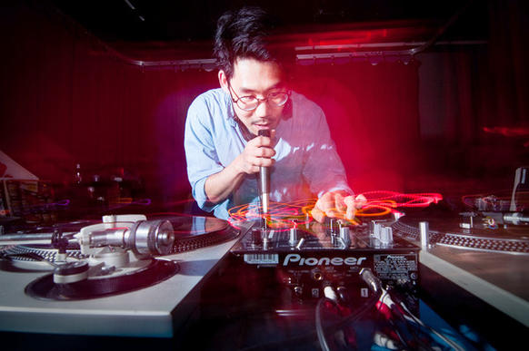 Producer and DJ Hunee from Berlin performs at Four Hours of Funk at the Windup Space on North Avenue.