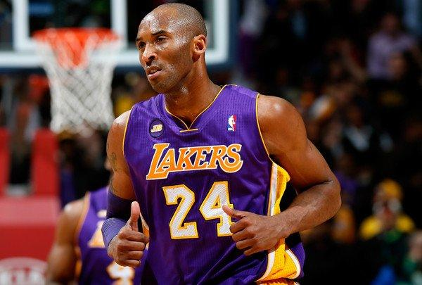 Lakers guard Kobe Bryant reacts after scoring against the Atlanta Hawks on Wednesday.
